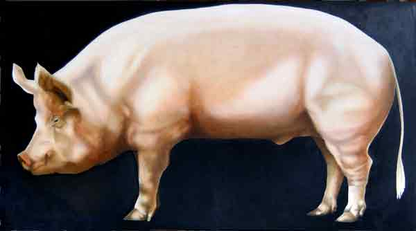 """BP - Big Pig, Hog of the Forsaken"" ©2010 Janice Tanton. Oil on linen. 48""x72"""