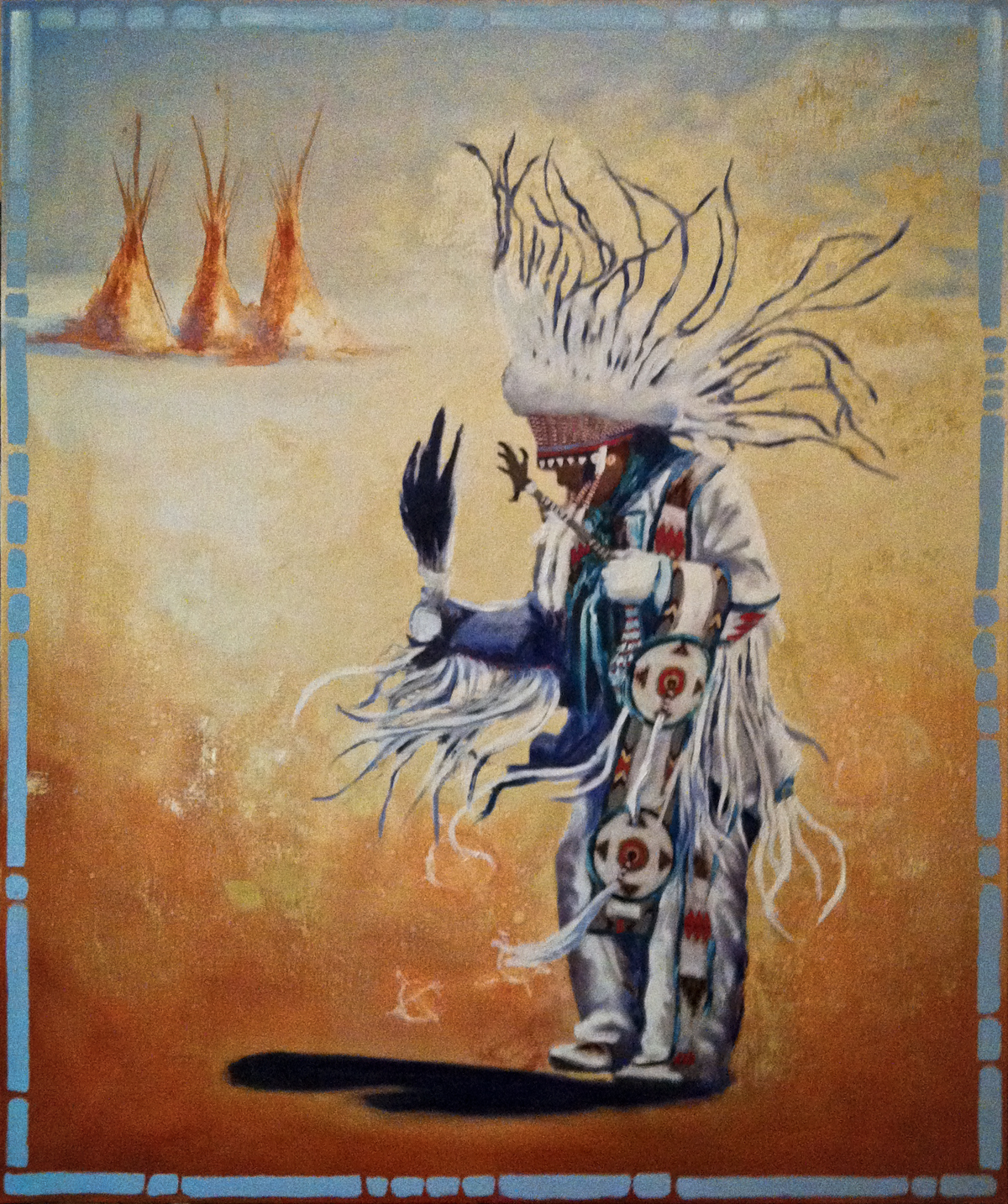 """Buckskin Dance Dream"" ©2011 Janice Tanton. Mixed media oil on linen. 40x48"