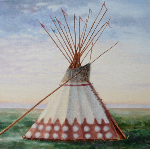 """Peace Lodge: Sunset"" ©Janice Tanton 2011. Oil on linen. 12x12"