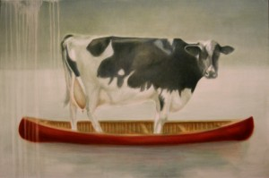 Cow in red canoe Janice Tanton art