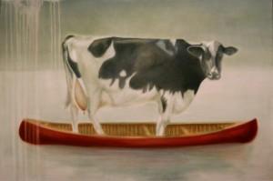 Cow in red canoe Janice Tanton art