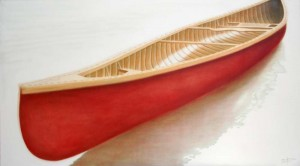 """Red Canoe"" ©2011 Janice Tanton. Oil on linen 40""x72"""