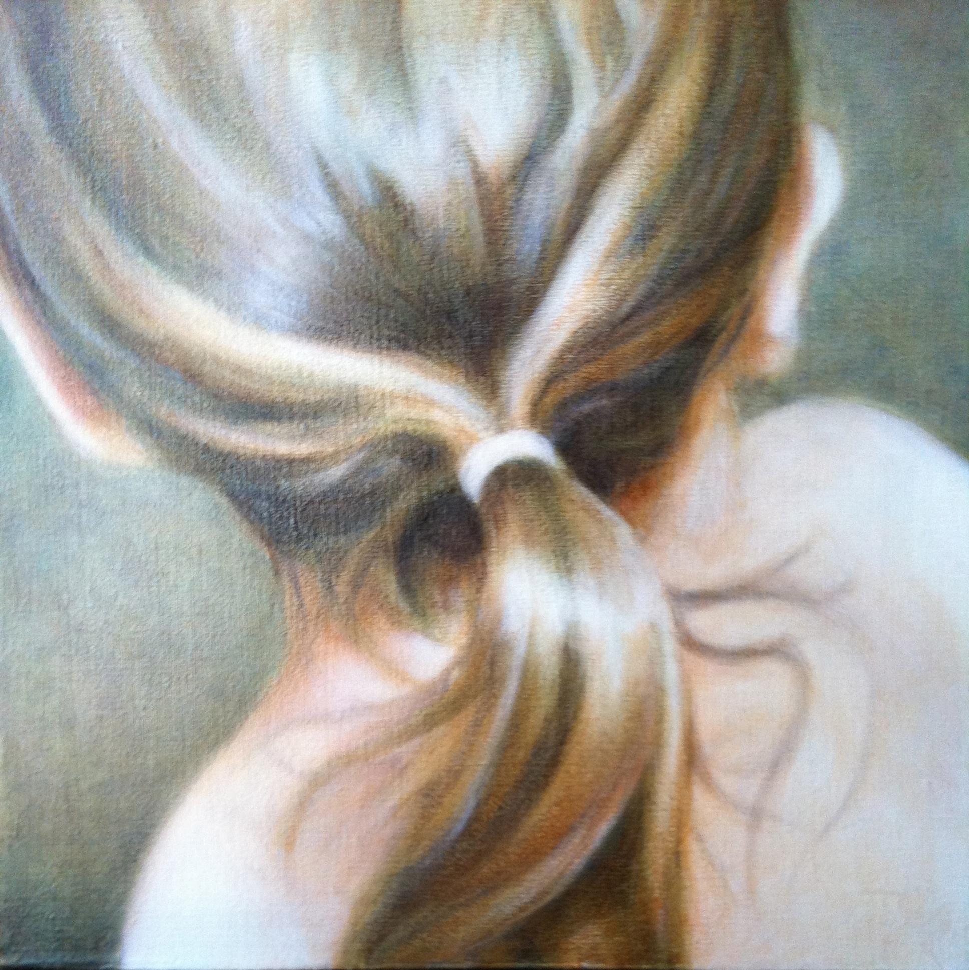 "The Ponytail - ©2011 Janice Tanton. Oil on linen. 12""x12"""