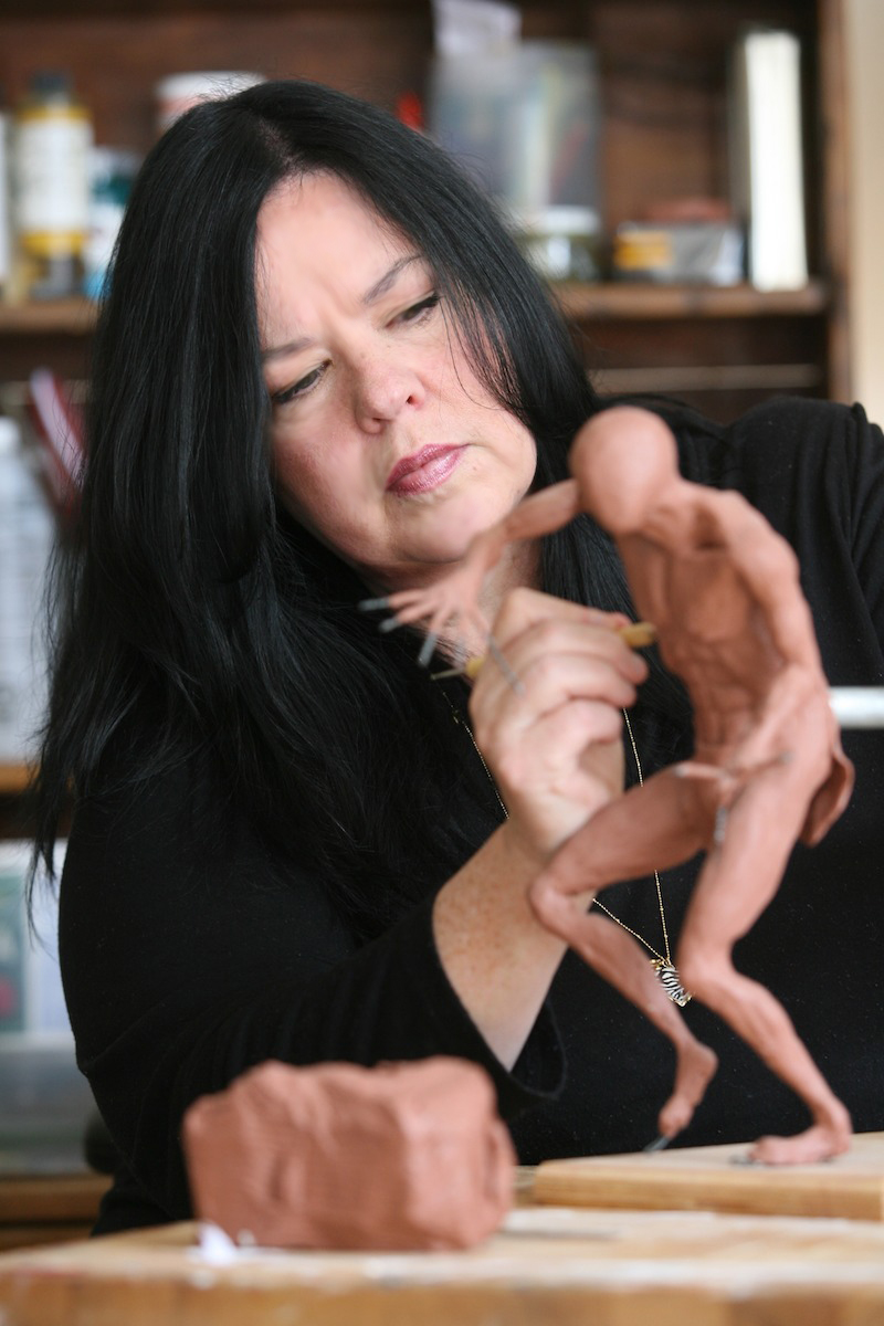 Janice Tanton working on a sculpture