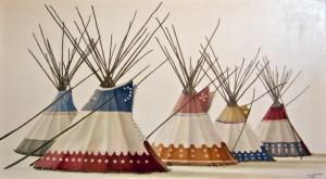 """Five Auntie's Lodges"" - ©2011 Janice Tanton. 40x72 Oil on linen."