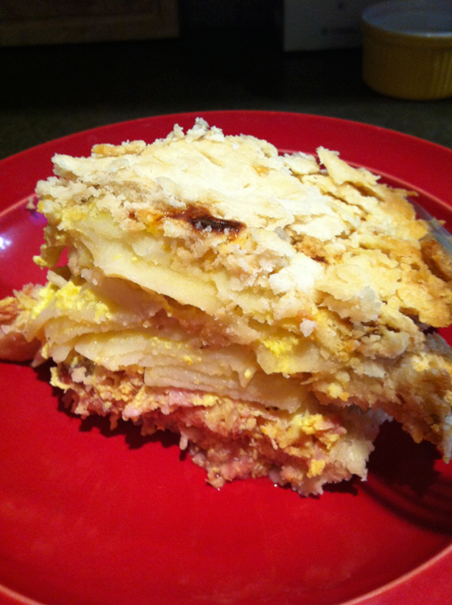 ham and egg pie on a plate