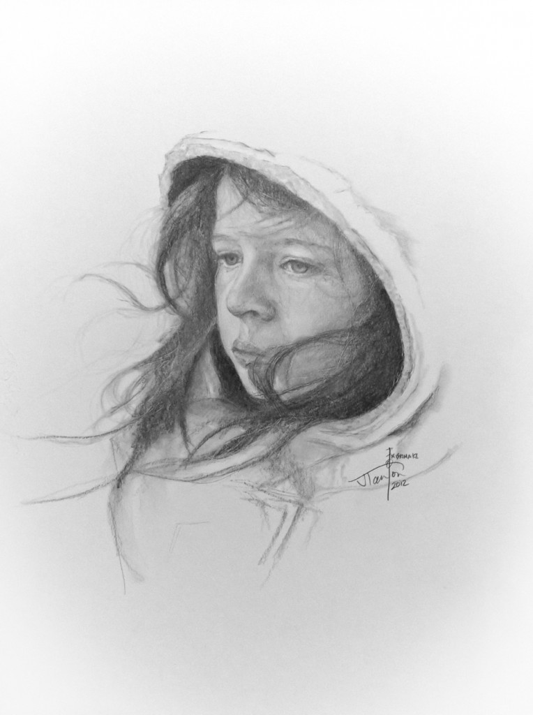 "The Artist's Daughter - ©2012 Janice Tanton. Graphite on paper. 18""x14"""