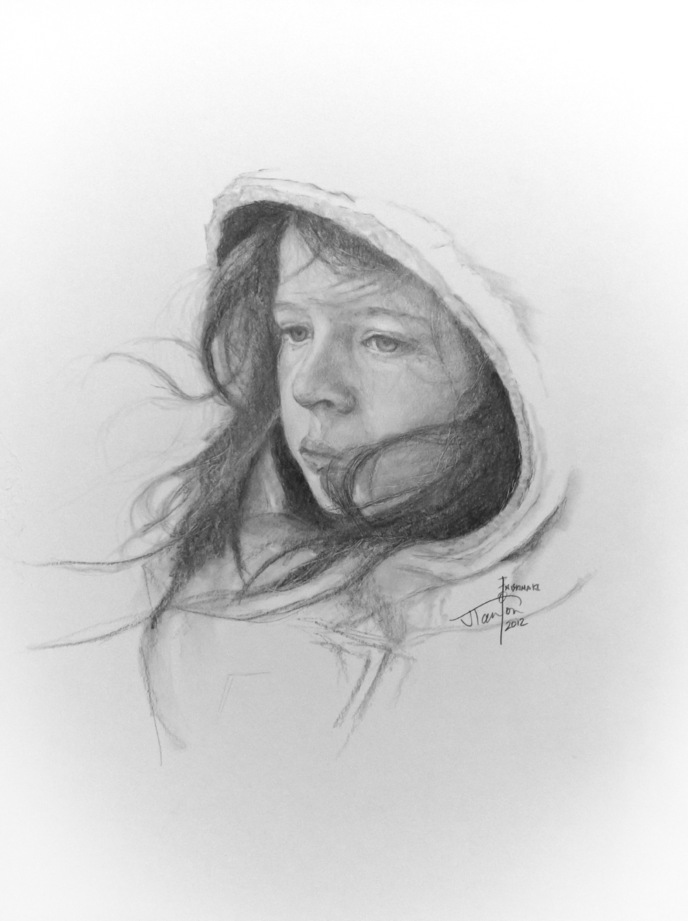 The Artist's Daughter: ©2012 Janice Tanton. Graphite on paper. 18x14.