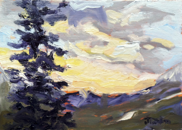 "February Sunrise from My Upper Deck ©2012 Janice Tanton. Oil on linen panel. 6""x8"""