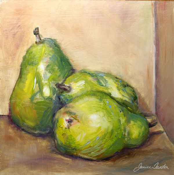 """The Common Pear"" ©2008 Janice Tanton. Oil on panel. 8""x8"""