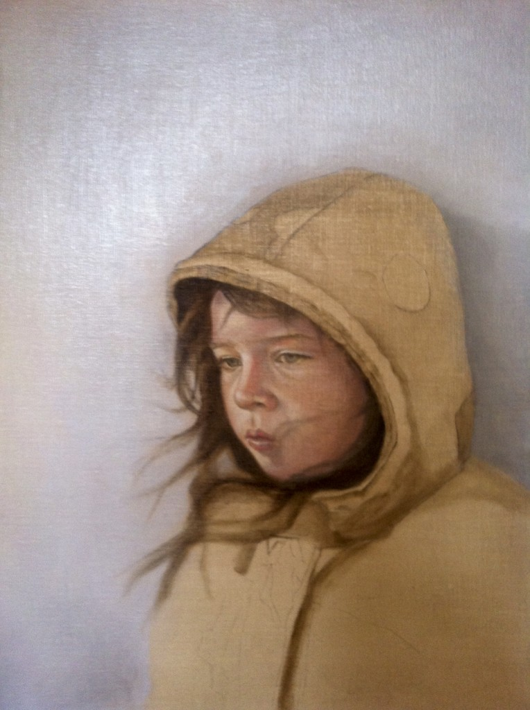 """The Artist's Daughter"" Work in Progress. Day 3. ©2012 Janice Tanton. Oil on linen panel. 18""x14"""