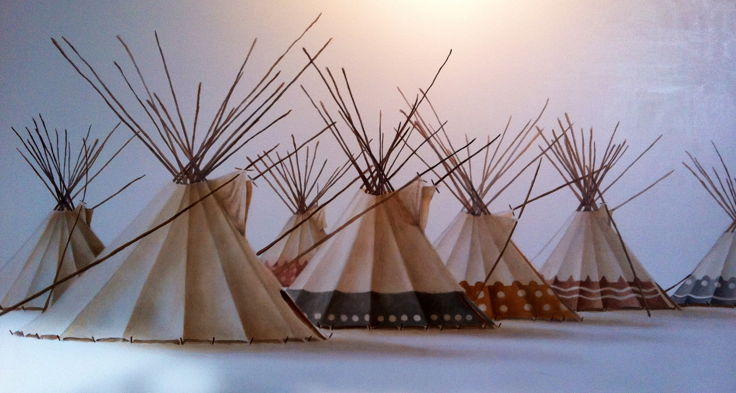 """7 Sisters Lodge Camp"" ©2012 Janice Tanton. Work in progress. Oil on linen. 40""x72"""
