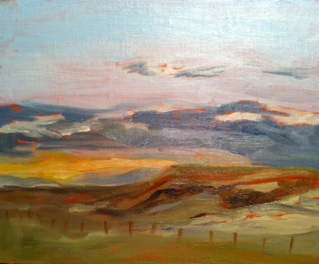 """Evening Sunset at Siksika"" ©2012 Janice Tanton. Oil on linen panel. 8""x10"""