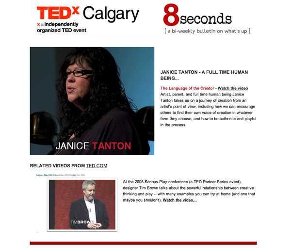 TEDxCalgary 8 Seconds Email Photo Featuring Janice Tanton