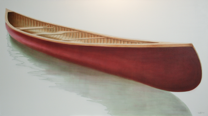 "CAMP :: ""On The Bow"" ©2012 Janice Tanton. Oil on linen. 40""x72"""