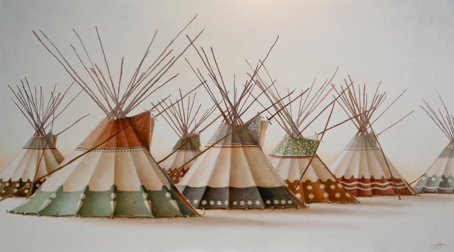 "CAMP :: The Lodge Series - ""All Family Lodges"" ©2012 Janice Tanton. Oil on linen. 40""x72"""