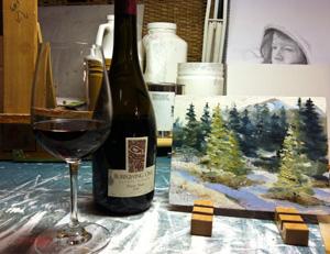 Burrowing Owl Pinot Noir in Janice Tanton's studio