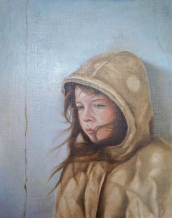 "Work In Progress - The Artist's Daughter :: ©2012 Janice Tanton. Oil on linen panel. 18""x14"""