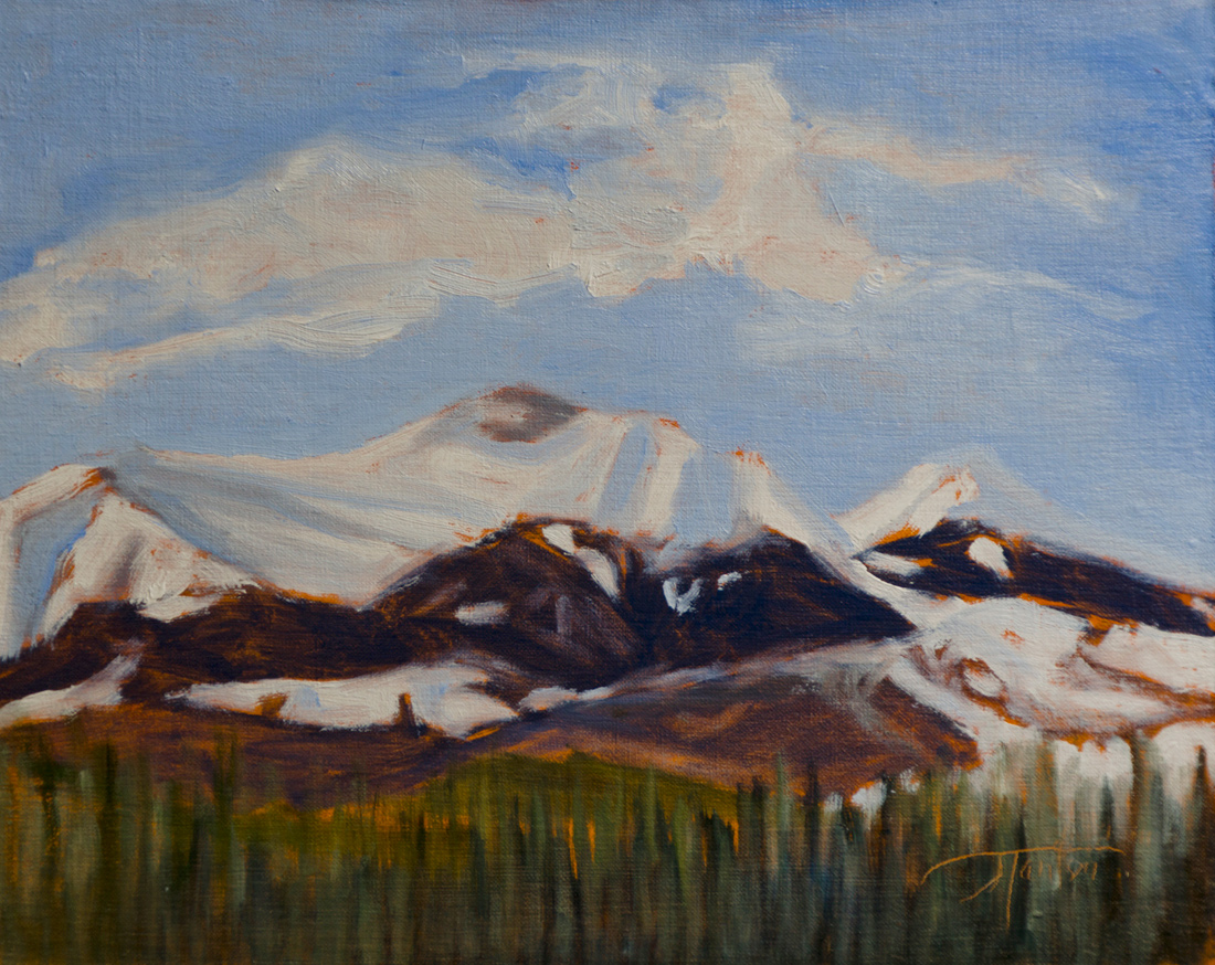 """Moose Mountain - April"" ©2012 Janice Tanton. Oil on linen. 8""x10"""