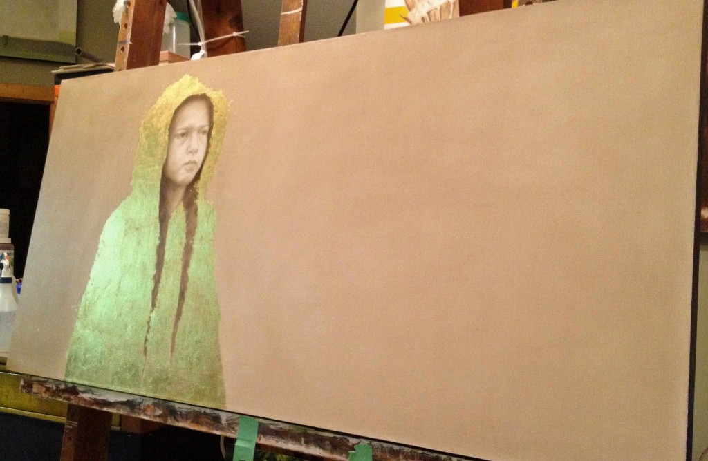 "Work In Progress - ""The Yellow Raincoat"" ©2012 Janice Tanton. Oil and 24k gold on linen. 24""x 48"""