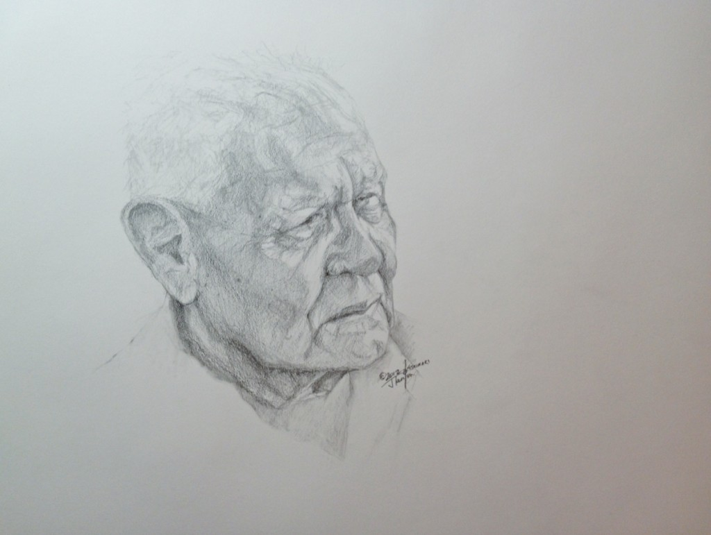 Tom Cranebear - Sketch : ©2012 Janice Tanton. Graphite on paper.