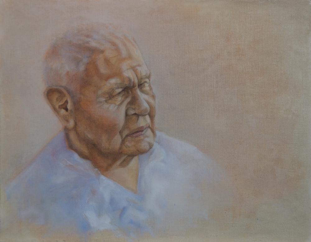 "Work in Progress : ""Tom Cranebear"" ©2012 Janice Tanton. Oil on linen. 18""x14"""