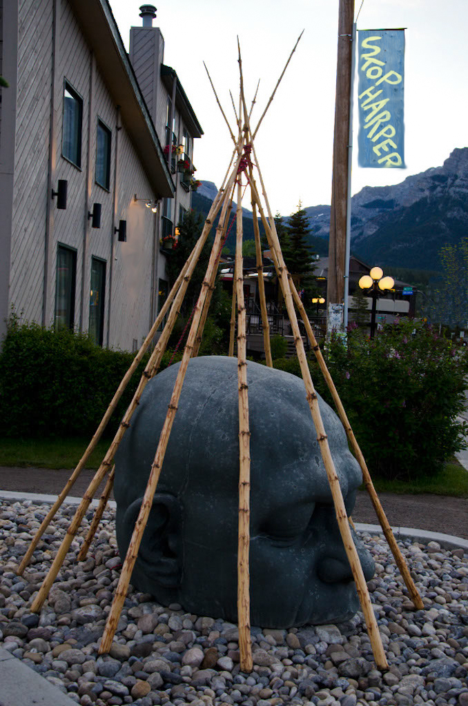 "Temporary Installation: ""CAMP - Land Claim"" over ""The Big Head"" in Canmore, AB."