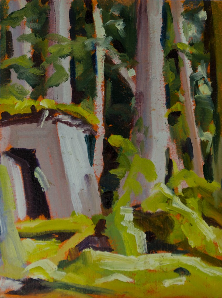 """Sedgwick Camp - Gwaii Haanas"" ©2012 Janice Tanton. Oil on panel. 6""x8"""
