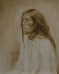 """Apache"" ©2012 Janice Tanton. Oil on linen. 24""x30"" Work in Progress"