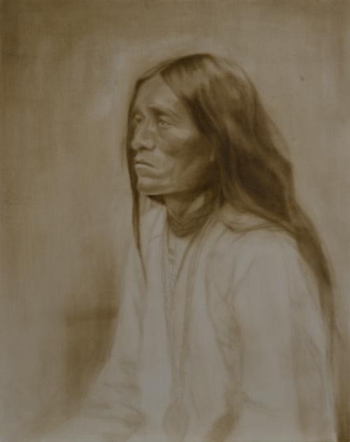 """""""Apache"""" ©2012 Janice Tanton. Oil on linen. 24""""x36"""""""