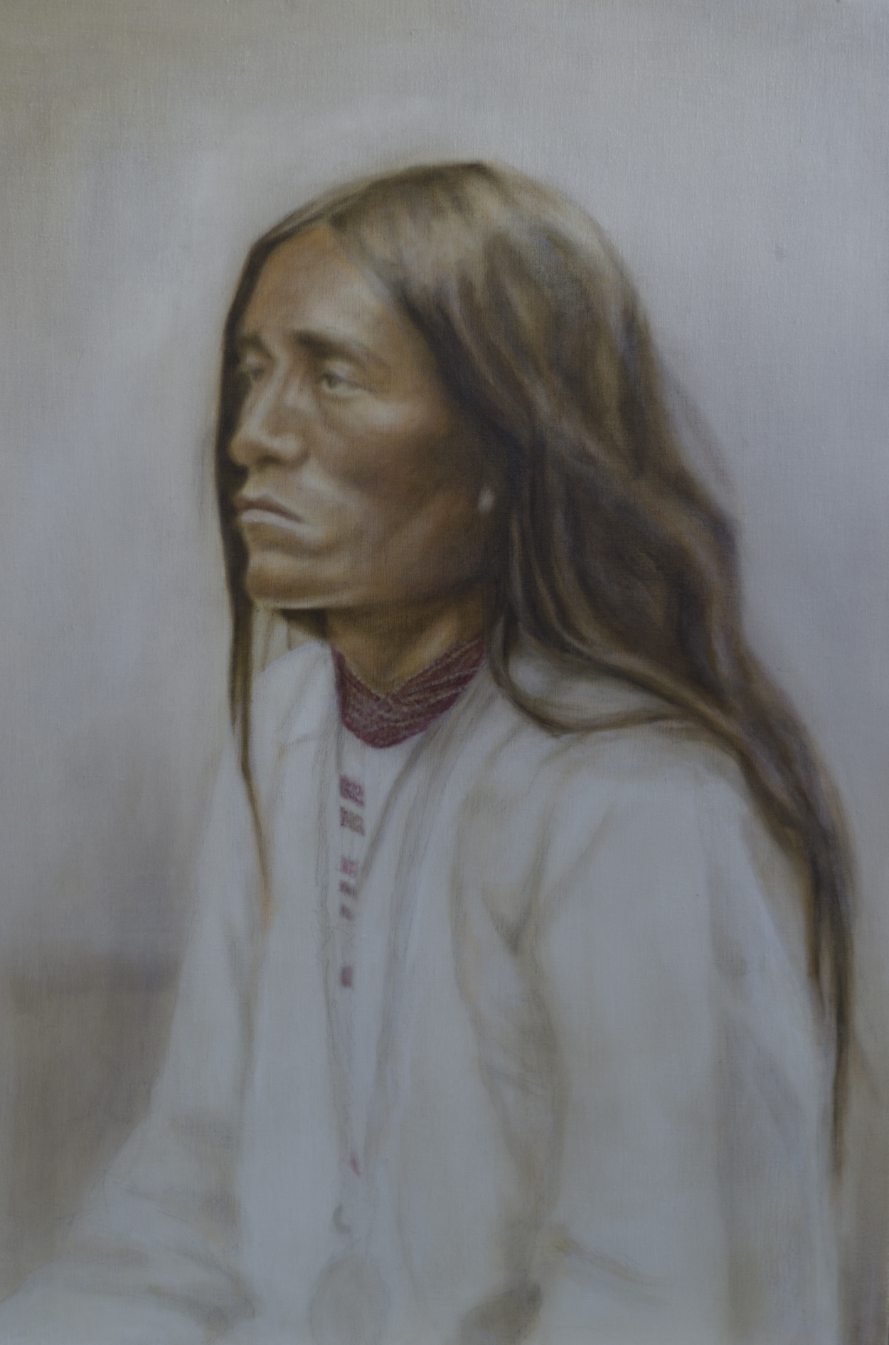 "Work In Progress - ""Notalq - Apache Man"" ©2012 Janice Tanton. Oil and silver leaf on linen. 24""x30"""