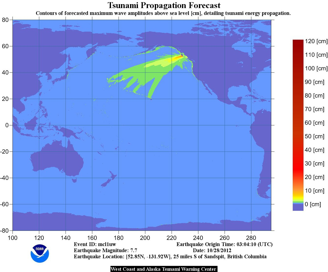 Tsunami Propogation Chart - October 28, 2012. Earthquakes from Haida Gwaii.