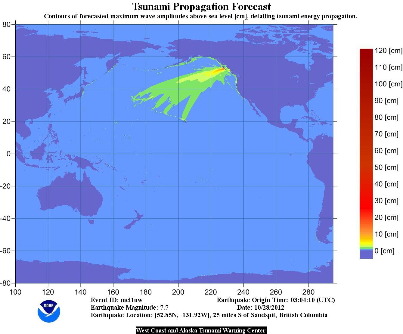 Tsunami Propogation Chart - October 28, 2012. Earthquakes from Haida Gwaii.