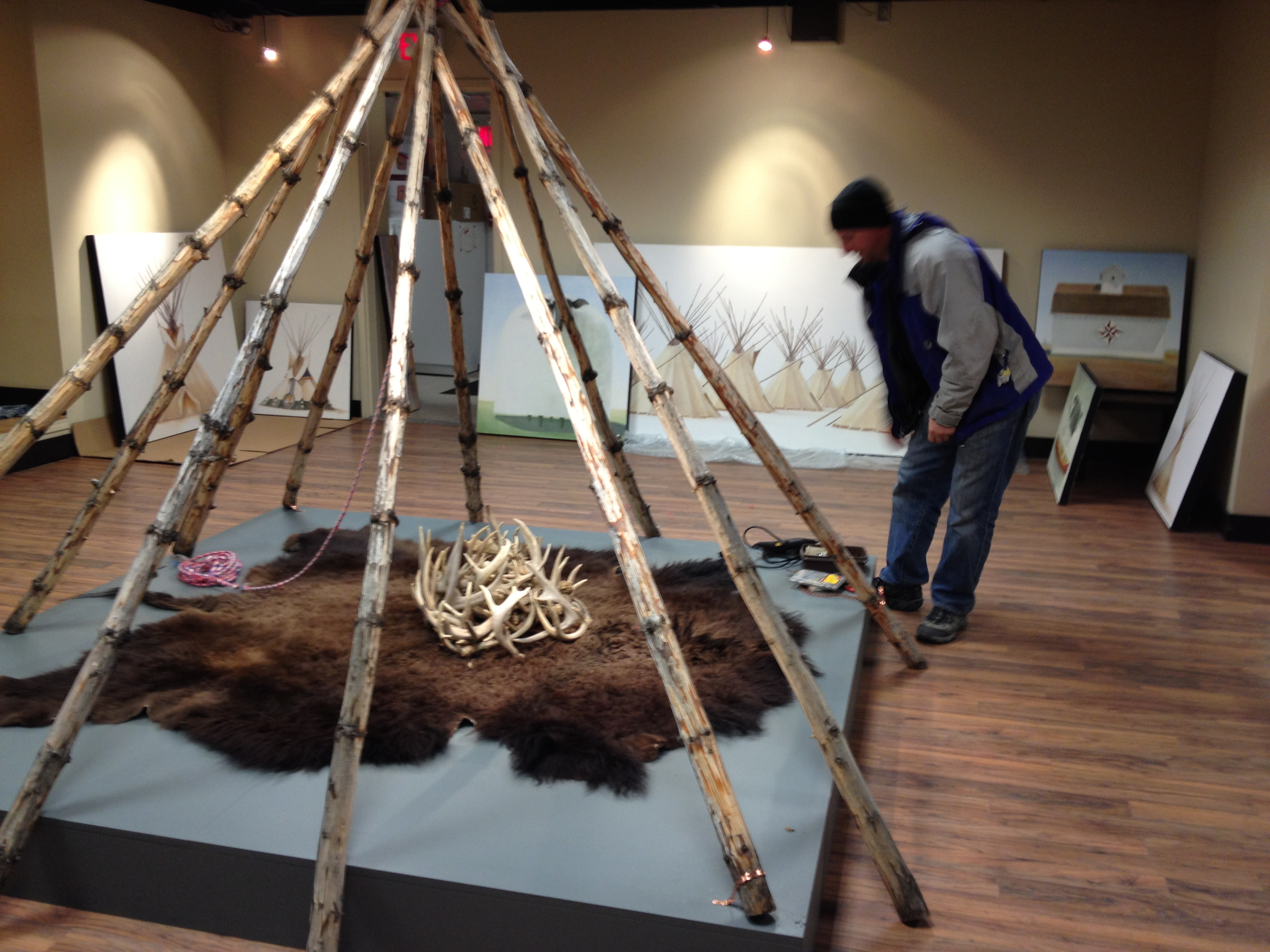 "Kevin Nuxoll Setting up ""ABUNDANCE"" at the OAG for the CAMP exhibition"