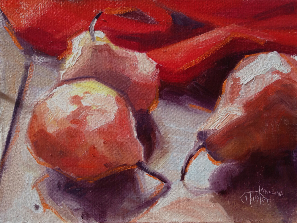 Red Pear Study, Janice Tanton, chemotherapy, painting