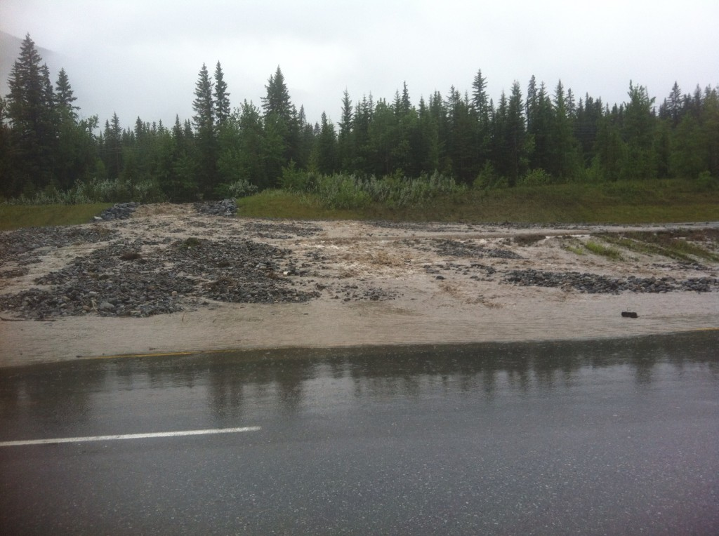 Washed out Trans Canada Highway, east of Canmore, Alberta due to flooding