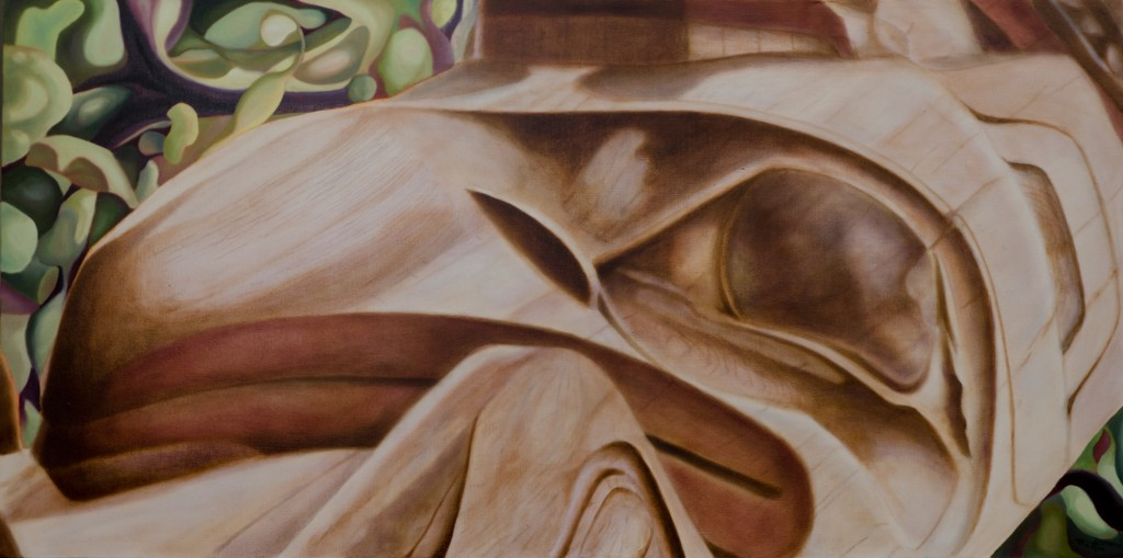 """Old Masset Breathing"" ©2013 Janice Tanton. Oil on linen. 24""x48"
