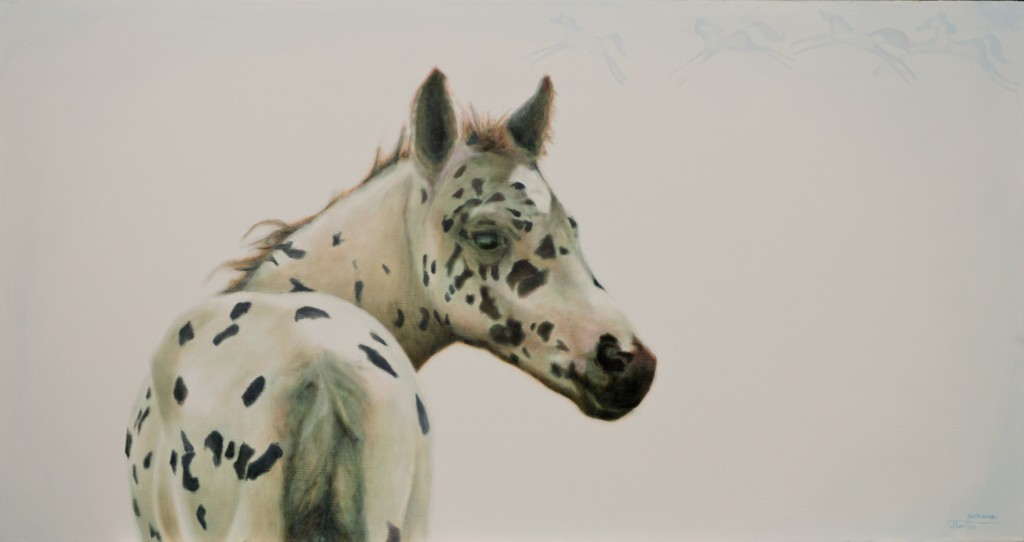 """Aitapissko Ponokamitaa""  (Sacred Place with Living Presence Horse) ©2014 Janice Tanton. Oil on linen. 24""x48"""