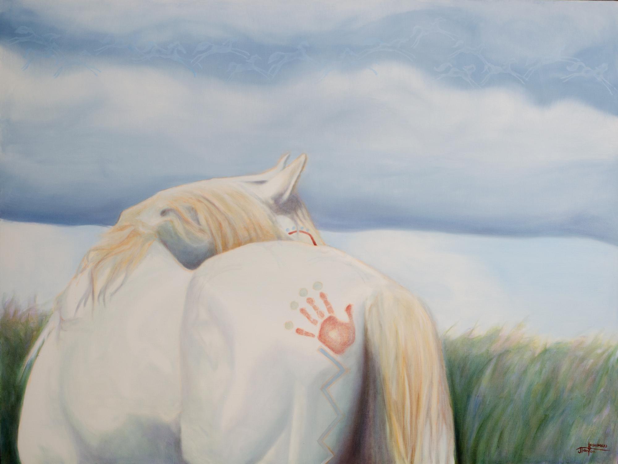 """Iiyikssopaapii Ponokamitaa"" (Hard Wind Old Man - a wind spirit who can be called upon for assistance.) ©2014 Janice Tanton. Oil on linen. 48""x63"""