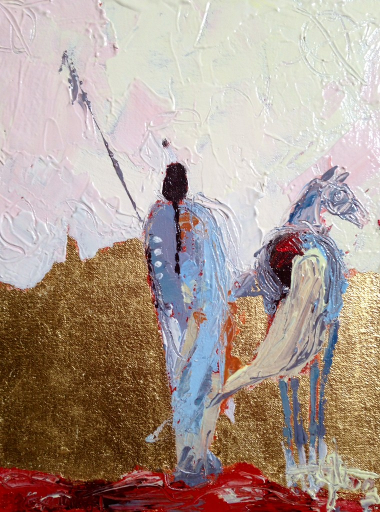 """Companions"" ©2014 Janice Tanton. Oil and 22k Gold on Linen, Framed. ($625). 6""x8"" Available at Gibson Fine Art, Calgary, AB."