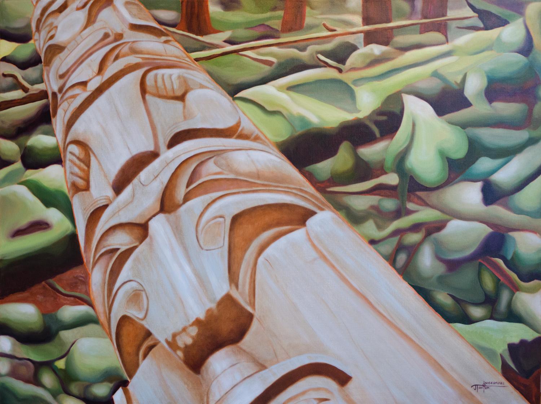 """Metamorphosis"" ©2015 Janice Tanton. Oil on linen. 36""x48"""