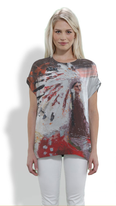 """Nitawahsin - (Our Land"") Gorgeous 100% Silk Top by Janice Tanton for VIDA Voices"