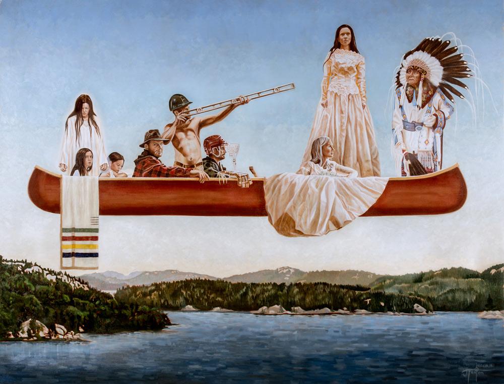 """'Undercurrents' © Janice Iniskimaki Tanton 2014. Oil on linen. 103""""x133"""""""