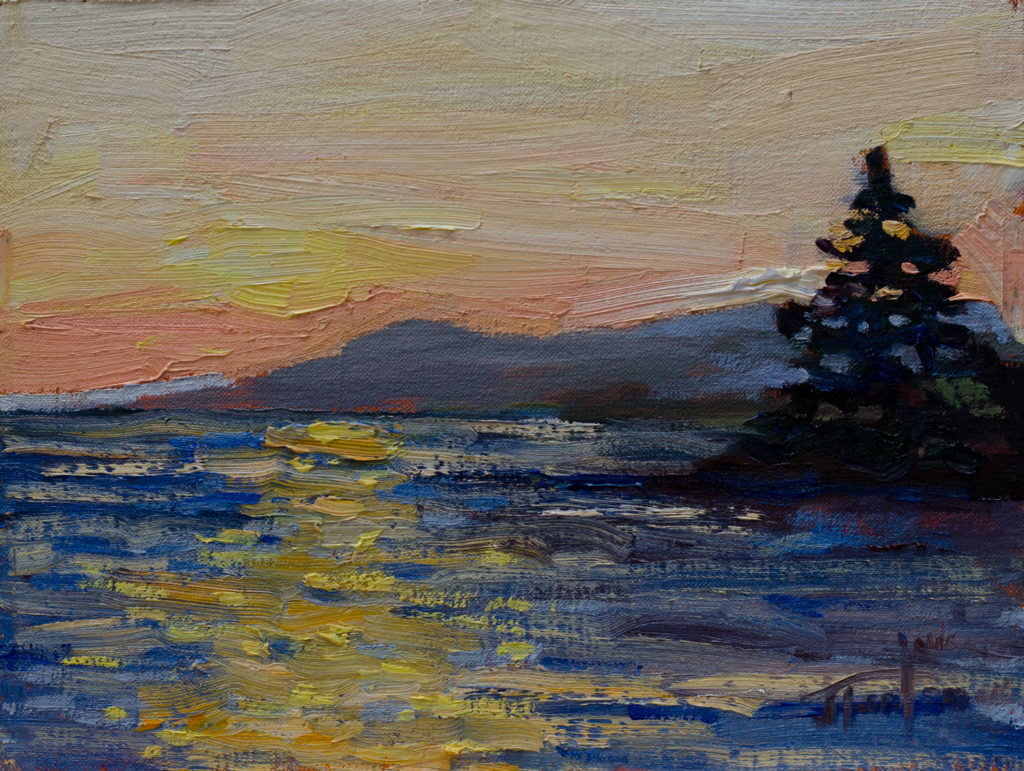 Sunset at Roberts Creek #3. ©Janice Tanton 2016. Oil on linen panel, 6x8.