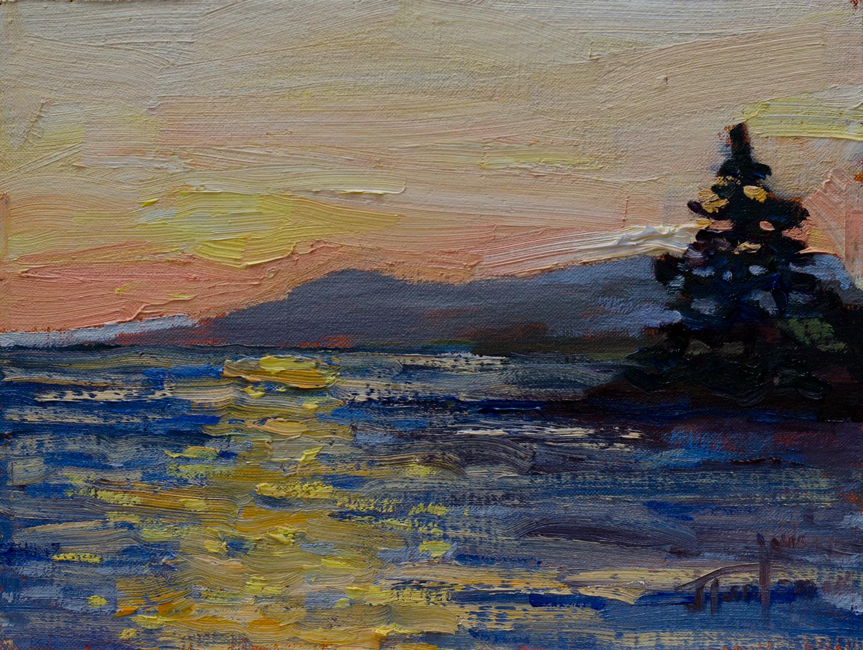 Sunset at Roberts Creek #3. ©Janice Tanton 2016. Oil on linen panel, 6x8.