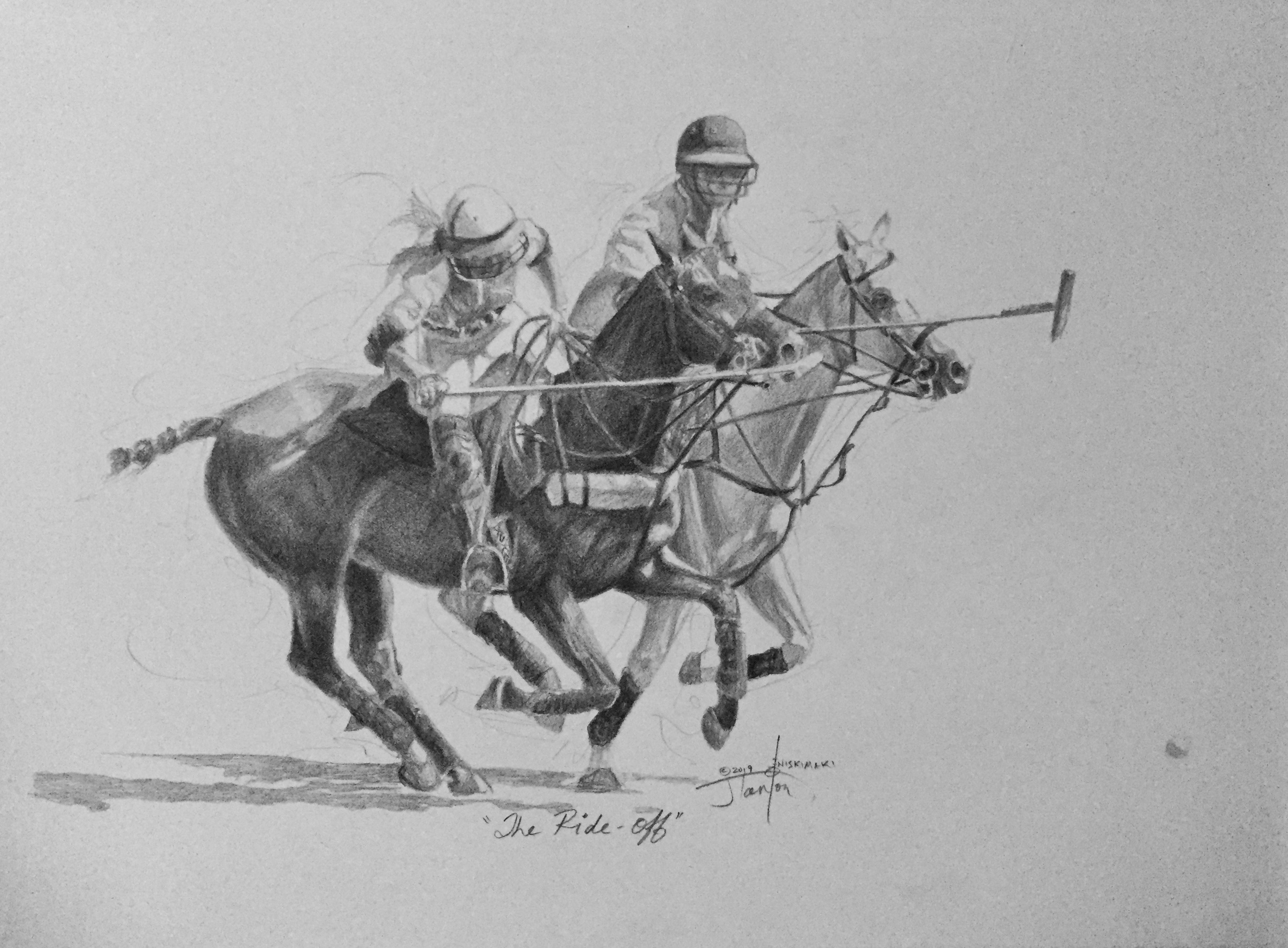 """The Ride Off"" ©2019 Janice Tanton. Graphite on Arches. 11""x15"""