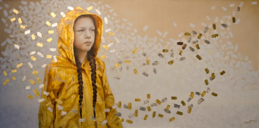 """The Yellow Raincoat"" ©2011 Janice Tanton. Oil and 22k gold on linen. 24"" x48"""