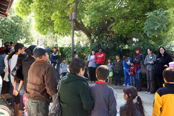 Preparing with everyone at Canoga Park in the garden area