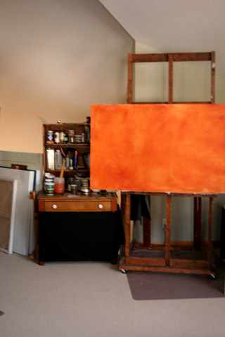 My large easel and painting centre.