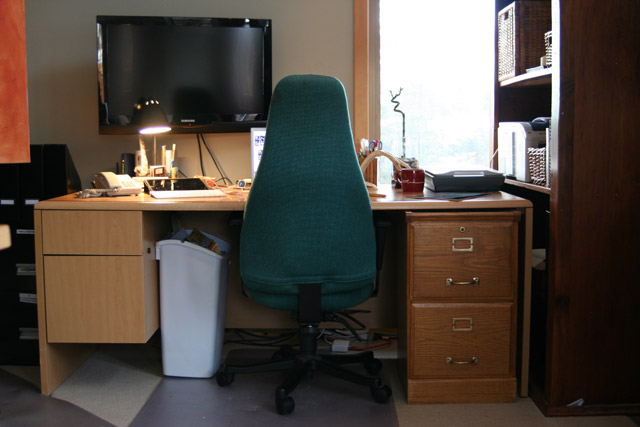 The desk and my lucky bamboo.